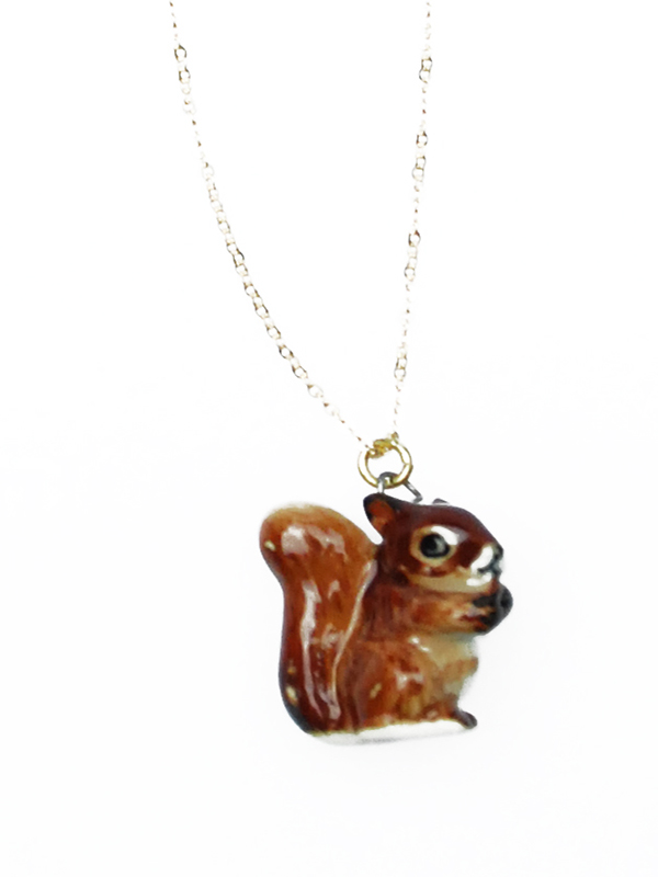 Squirrel pendant on gold filled chain aloadofball Gallery
