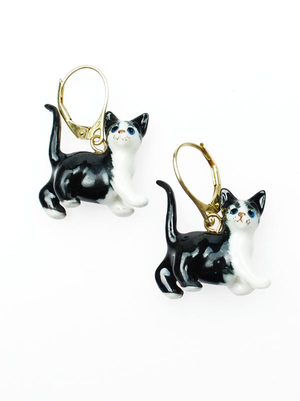 zwarte kat oorbel